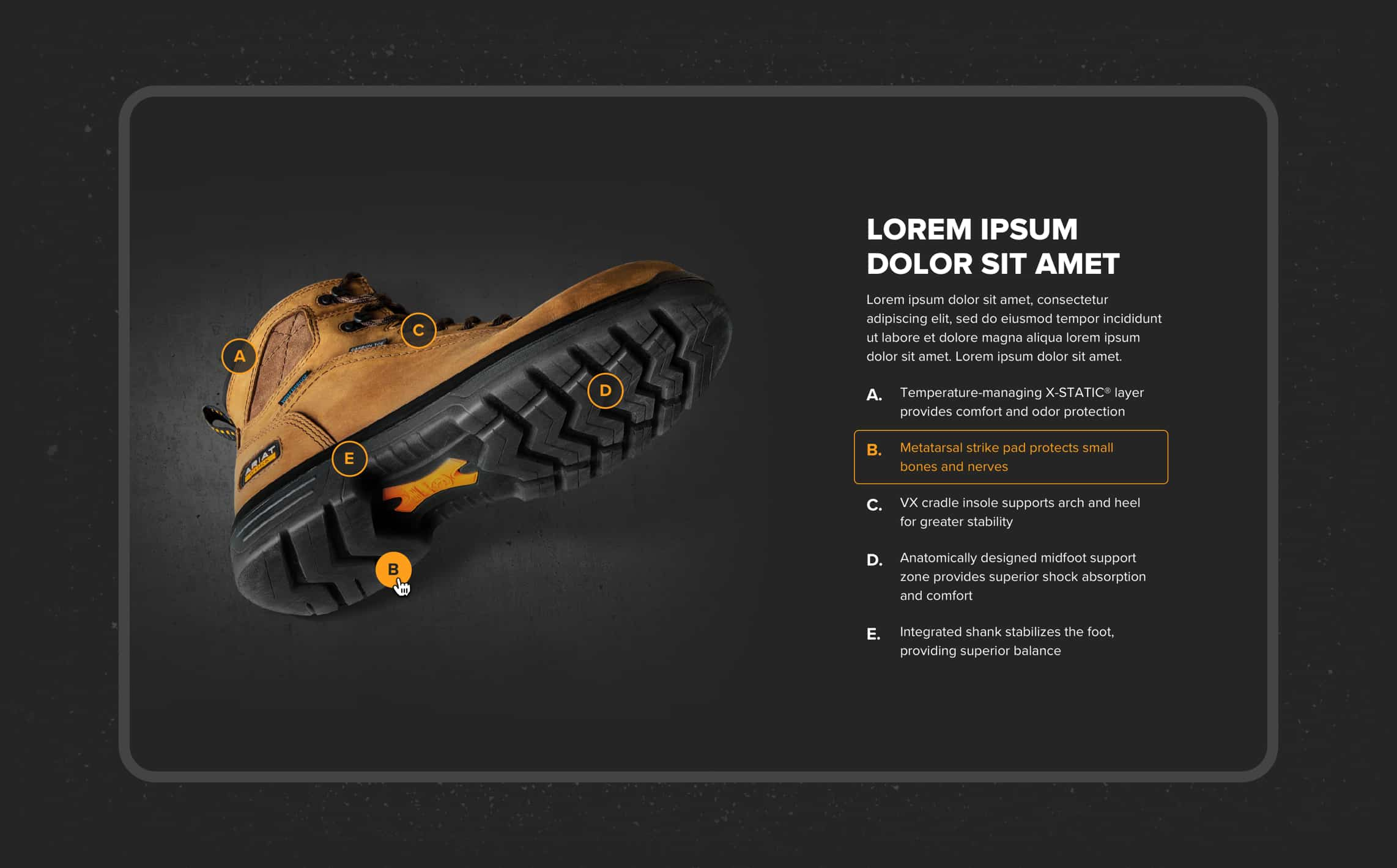 Screenshot showing interactive panel on Ariat website used to explain the technology behind their boots.