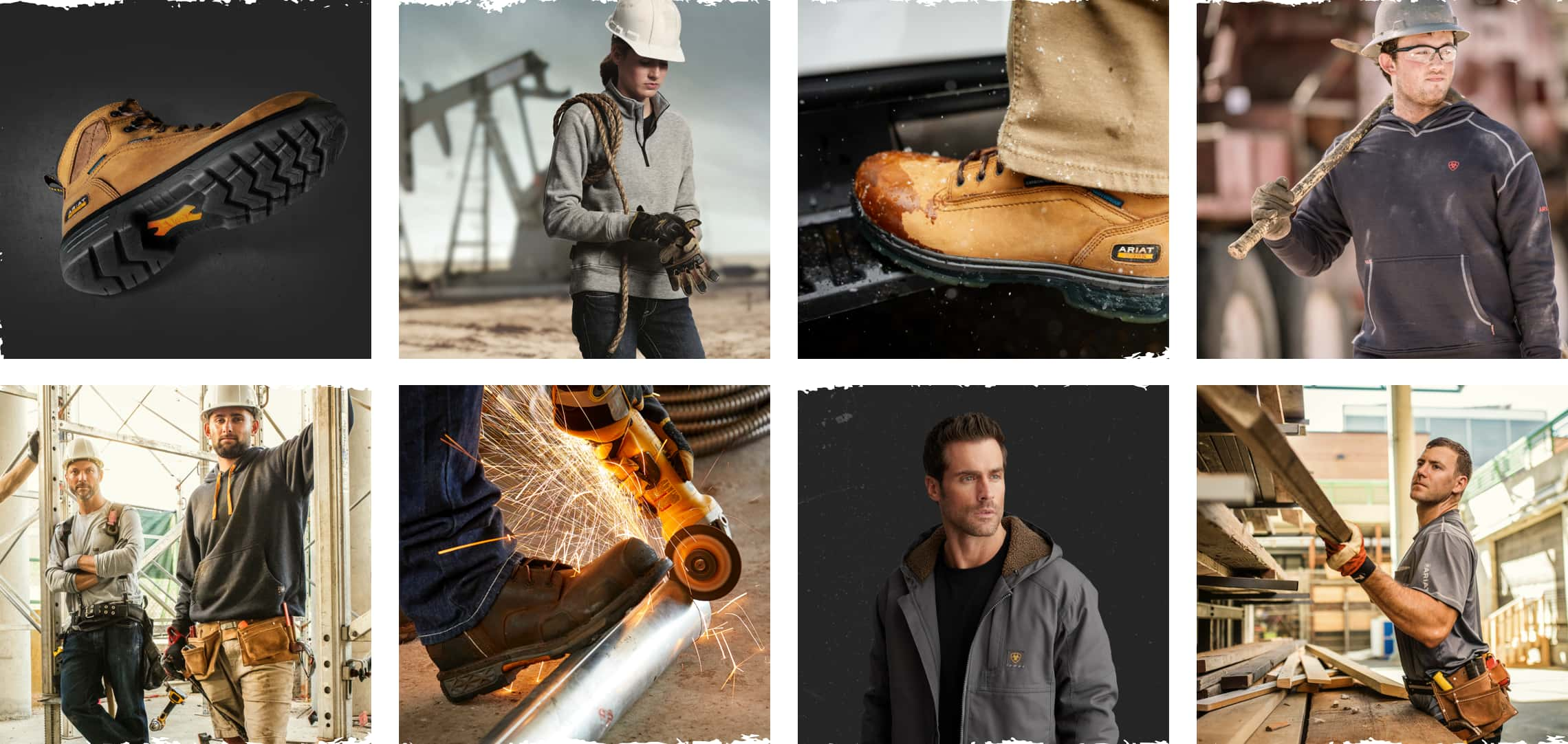 Grid showing ariat brand photography - various photographs of Ariat workwear in-use