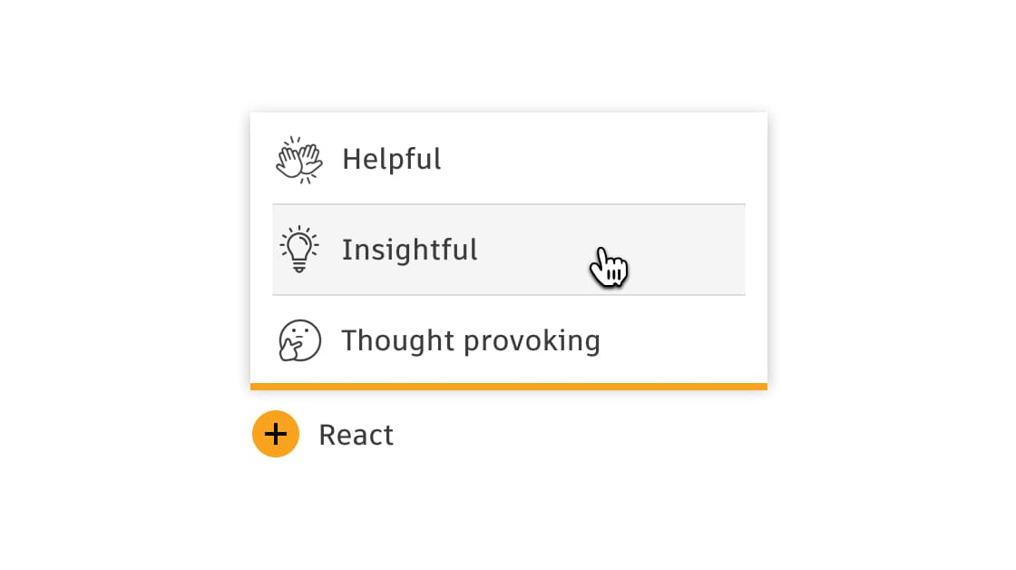 Screenshot of reaction functionality available on articles, showing options for helpful, insightful, and thought provoking.
