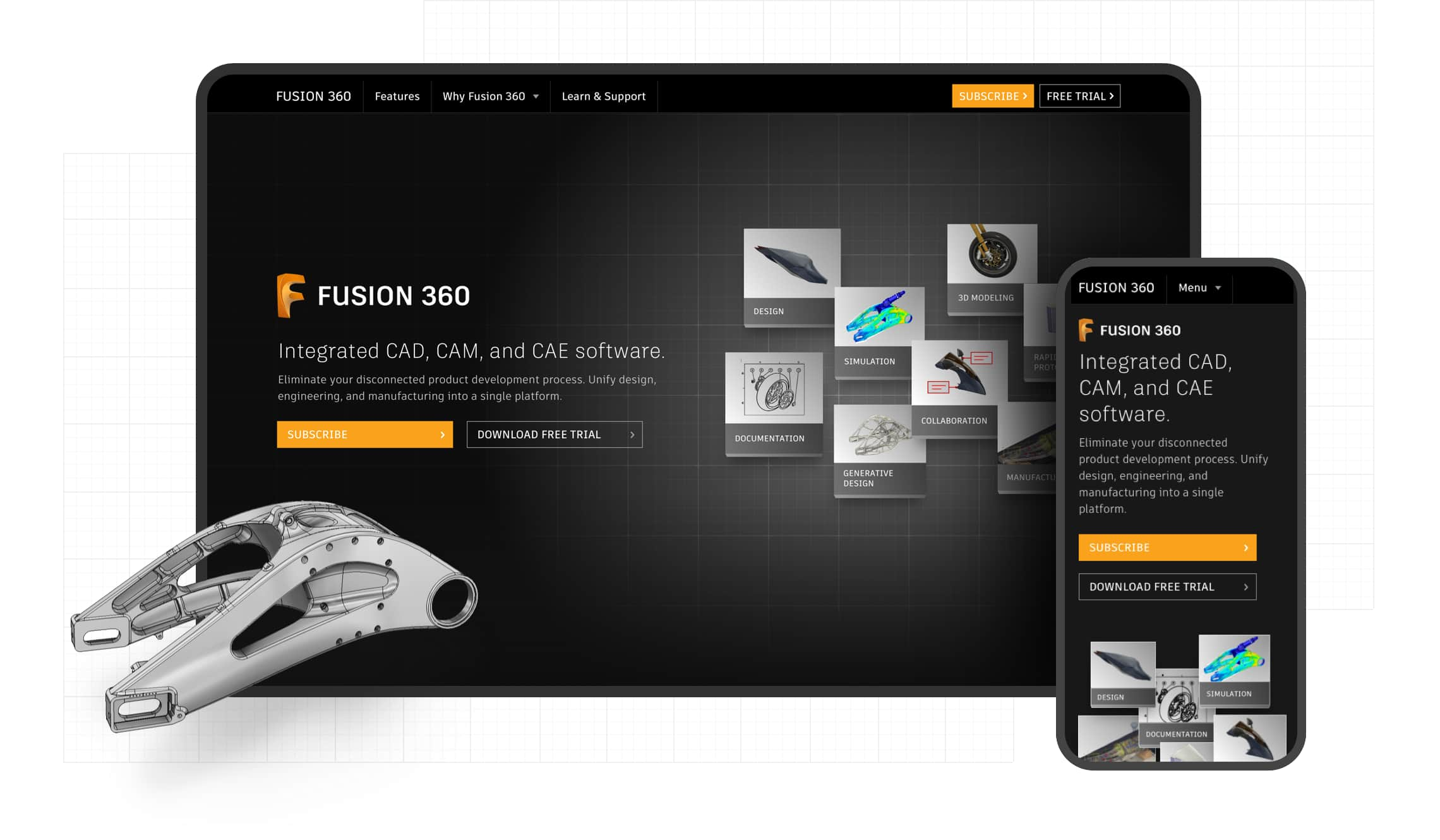 Composite image showing desktop and mobile views of the Fusion360 home page