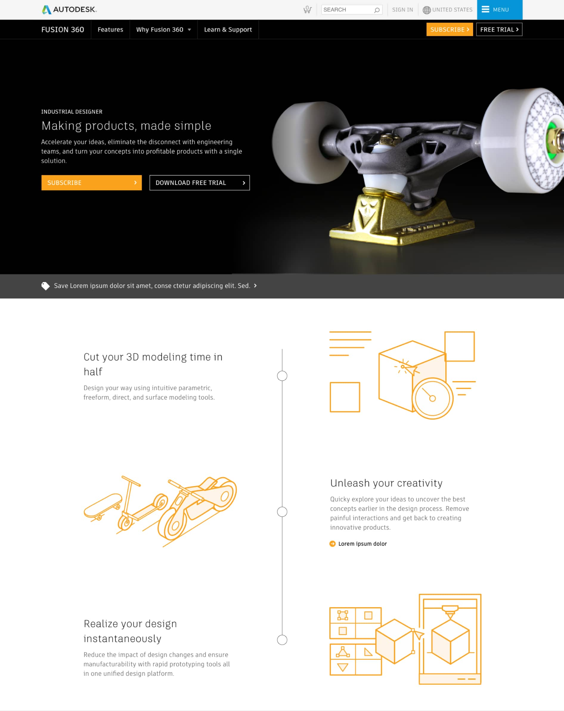 Screenshot of Fusion360 home page